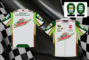 Dale Earnhardt Jr Diet Dew Shirt NASCAR Pit Crew Shirt Green Gray BLOWOUT SALE