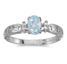 Aquamarine and Diamond Victorian Style Band 10K White Gold Ring