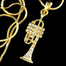 w Swarovski Crystal bach king Brass BB TRUMPET Musical charm Gold T Necklace New
