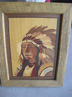 COOL Vintage  Inlaid Wood Indian Chief Portrait Framed