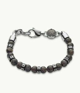 DIESEL Mens Bracelet DX1164040 Stainless Steel Stones Gray NIB