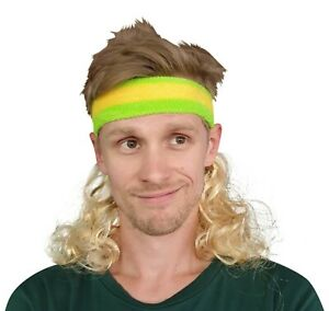 Blonde Mullet Headband Mullet Wig Aussie Headband Green and Gold