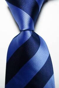New Classic Striped Dark Blue Light Blue JACQUARD WOVEN Silk Men's Tie Necktie