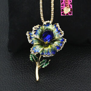 Women's Enamel Crystal Flower Pendant Chain Betsey Johnson Necklace/Brooch Pin