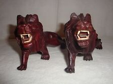 PAIR OF ANTIQUE ROSEWOOD HAND CARVED LIONS