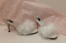 Vtg Womens Playboy High Heel Slide Shoes / Slippers w/ Maribou Feathers Sz 8 NIB