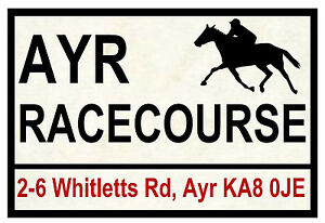HORSE RACING ROAD SIGNS (AYR) - FUN SOUVENIR NOVELTY FRIDGE MAGNET - GIFT - NEW
