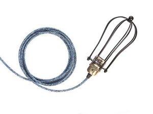 Vintage style wall plug black cage single light pendant + Free P&P