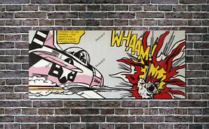 "Roy Lichtenstein Oil Painting Whaam Hand-Painted on Canvas NOT a Print 20""x48"""