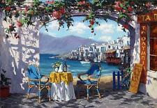 """Viktor Shvaiko """"Meeting in Mykonos"""" Seaside Cafe Hand Signed# Embellished Canvas"""