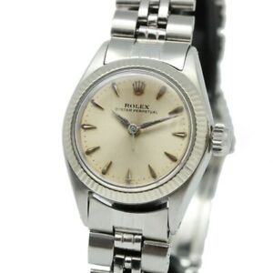 ROLEX Oyster Perpetual 6619 Datejust White Gold Ladies Watch Used Authentic