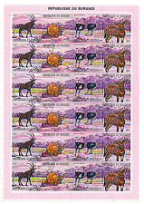 BURUNDI: FULL SHEET OF 24 x 11 FRANCS AFRICAN ANIMALS STAMPS 1971, SCOTT #360