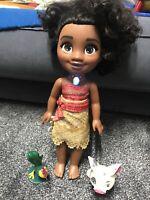 Disney Jakks Singing Moana Doll and Friends Pua And Hei Hei Toy Figure Bundle
