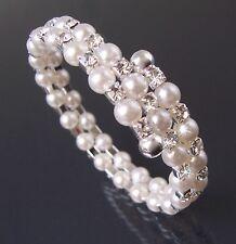 Armreif Armband 2-reihig Perlen weiß silber Strass Schmuck Mädchen Damen A1365