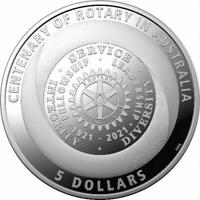 2021 Centenary of Rotary Australia $5 Silver Proof Coin