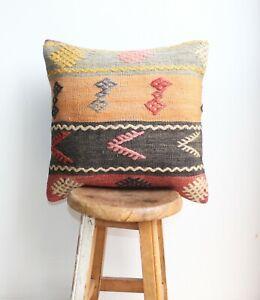 "Handmade Kilim PILLOW CUSHION COVER - Eclectic, Boho, Decorative Pillow 16"""