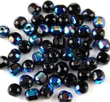 50 PCS Czech Cathedral Black AB Faceted Window Fire Polished Loose Glass Beads