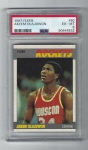 Hakeem Olajuwon 1987/88 Fleer card, # 80, PSA EX / MT 6. Houston Rockets