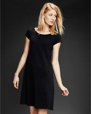 Eileen Fisher Garnet Hill New BLACK Organic Cotton Ballet Neck Dress PS $128