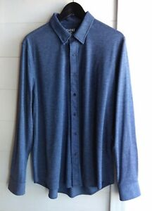 RHONE Mens Commuter Stretch Blue Houndstooth Shirt L/S Button Down Size Large