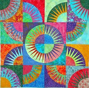 """New York Beauty Paper Piecing Batik Quilt Top-32""""x32"""" #74"""