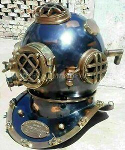 """Vintage Brass Morse 18"""" US Navy Mark V Diving Divers Helmet Antique Replica"""