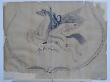 "18th Century Penmanship Drawing ""The Poet and the Pegasus"" by C.W. Alworth"