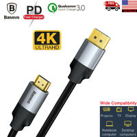 Baseus 4K 60Hz DP to HDMI Cable Displayport Male to Male Adapter Cord For PS4 PC