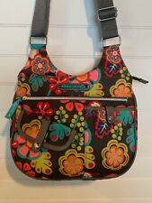 LILY BLOOM Grey Floral Crossbody Bag Purse Medium Pink Green Teal