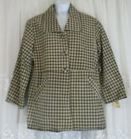 New Womens Leather ST Multia 9 PeaCoat Jacket Lined Plaid Beige Gray NWT Button