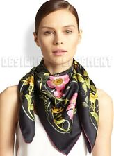 """GUCCI black FLOWER WEB country roses & insects silk 35"""" Scarf NWT Authentic $440"""
