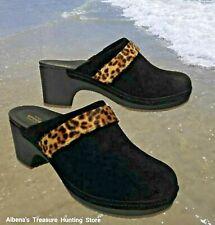 187292502 NWT CROCS Sarah Women Shoes Clog Mules Suede Leather Black Leopard SELECT  SIZE