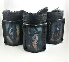 Set of Three Sugar Skull Makeup Storage Organiser Glass Jars Brush Holders