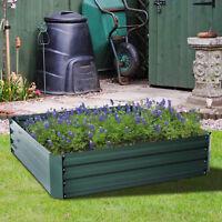 4x4 Ft Raised Metal Garden Bed Patio Backyard Flower Vegetable Grow Planter New