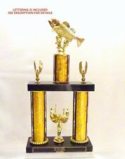 TROUT TROPHY  FISHING TROPHY BLACK MARBLE  free lettering   8 COLORS