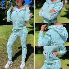 Mint Rhinestones Velour Tracksuit, Basic Summer Joggers and Zip Couture Hoodie