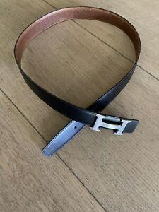 HERMES leather constance belt strap only black/brown designer size 85,  M