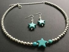 SILVER BALL beads Choker necklace with Turquoise Stars And Star Earrings Boho