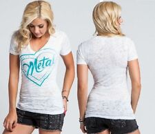 Metal Mulisha Ladies Stamped V-neck Tee Size L