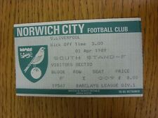 01/04/1989 Ticket: Norwich City v Liverpool [Football League Runners Up] (folded
