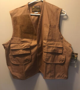 Mens Caliber Sportsman LG Brown Shooting Vest Vintage Hunting Cotton Pockets New