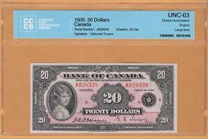 "BANK OF CANADA $20 Dollars ""ENGLISH"" CCCS-63 UNC 1935 BC-9a/P-46a QEII Banknotes"