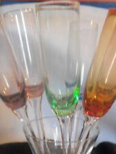 """New"" Vintage 7 Pc. Champagne Bouquet 2003 Multi Colored Flutes Ultra Glass"