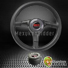 Black Carbon Fiber Center Steering Wheel w/Hub Adapter Horn Honda Civic 92-95 EG