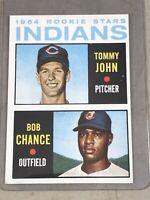 1964 TOPPS #146 INDIANS ROOKIES TOMMY JOHN / BOB CHANCE  RC  EX