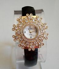 Designer style flower black/gold finish Geneva bangle women fashion bling watch
