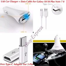 LED Dual Port Fast Charge In Car Charger & Type-C Cable Samsung Galaxy S8/S9+ A5