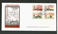 Falkland Is #180-83 BATTLE OF THE RIVER PLATE 1939 FDC Port Stanley CDS VF