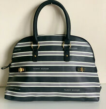 NEW! TOMMY HILFIGER BLACK GRAY DOME BOWLER SATCHEL TOTE PURSE BAG $85 SALE