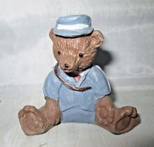 Small Bear Wearing Blue Suit & Hat with Shoulder Bag Figurine Resin Mailman